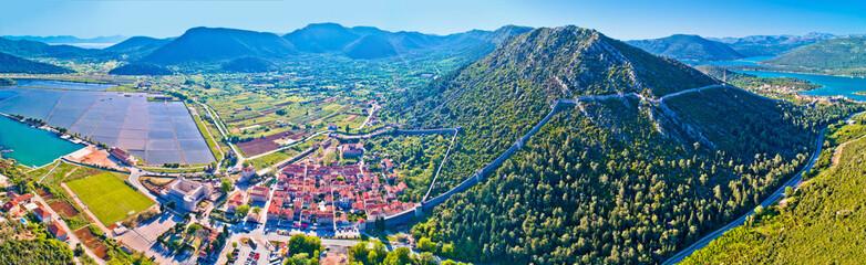 Panoramic aerial view of Ston historic walls and Peljesac peninsula