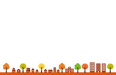 秋の街並み|背景イラスト