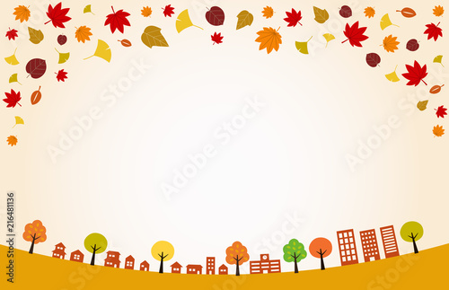 秋の街並みと紅葉背景イラスト Stock Image And Royalty Free Vector