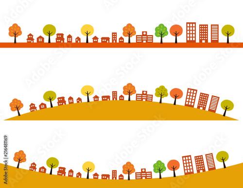 秋の街並みイラストセットfotoliacom の ストック画像とロイヤリティ
