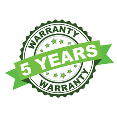 Green rubber stamp with 5 years warranty concept