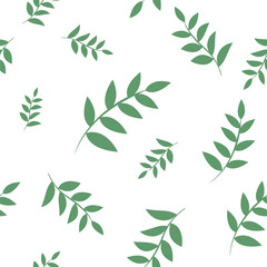 Vector seamless pattern. Floral stylish background. Repeating monochrome texture with branches