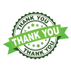 Green rubber stamp with thank you concept