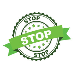 Green rubber stamp with stop concept