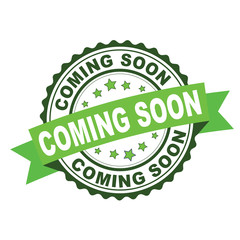Green rubber stamp with coming soon concept