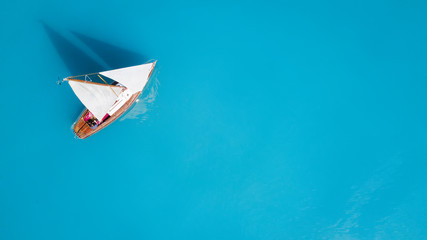 Aerial view at the yacht. Beautiful concept and idea of travel at the summer time