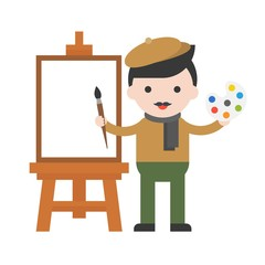 Artist and blank canvas, Cute character flat design professional people set