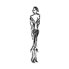 Abstract free fashion model in skirt hand drawn ink doodle, sketch, outline black and white vector fashion illustration