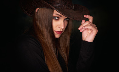 Face of a beautiful girl. with long brown hair