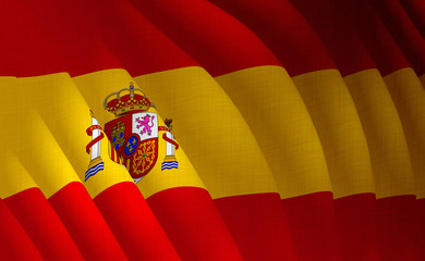 Illustration of a flying Spanish flag