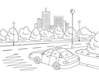 Street road graphic black white city landscape sketch illustration vector. Taxi car