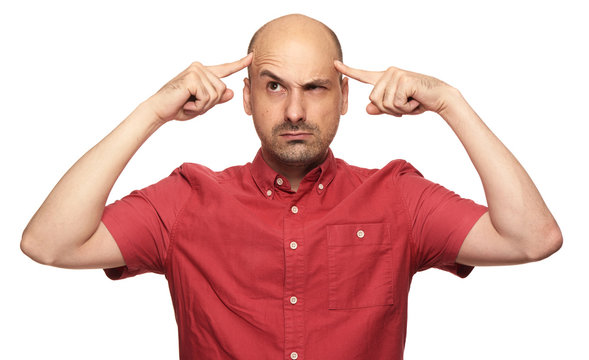 Bald man thinking hard about problems