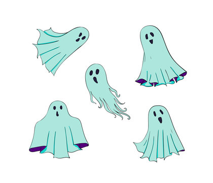 Ghosts set. Symbol of Halloween. Spook character of horror. Mystical Nightmare