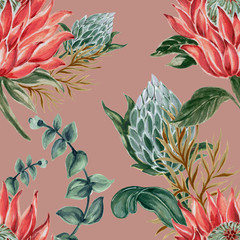 Botanical collage with King protea and green leaves branches seamless pattern