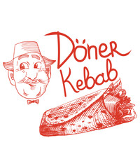 Doner Kebab pencil drawn vector illustration: turkish chef with fez on and doner kebab or shawarma.