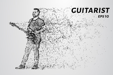 Particle guitarist. The guitarist plays the electric guitar