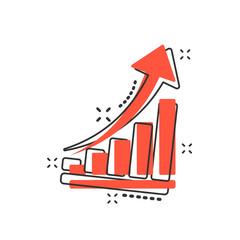 Obraz Vector cartoon growth chart icon in comic style. Grow diagram sign illustration pictogram. Increase arrow business splash effect concept. - fototapety do salonu