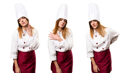 Set of Beautiful chef woman with shoulder pain, back pain and neck pain