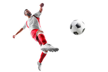 Soccer. Professional soccer player in action. Isolated in white background