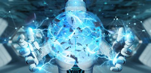 White woman robot creating energy ball 3D rendering