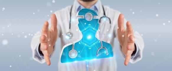 Doctor using digital medical futuristic interface 3D rendering