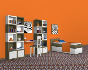 Jugendzimmer in Olivgrün-weiß, mit kräftiger Wandfarbe. Aus Seitenansicht. 3d Render