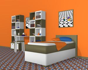 Jugendzimmer in Olivgrün-weiß, mit kräftiger Wandfarbe. 3d Render