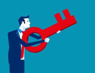 Businessman aiming key to success. Concept business vector illustration, Key, Pointing.