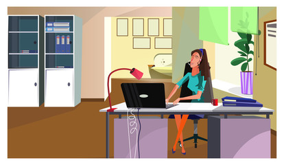 Helpdesk operator answering call vector illustration. Positive female manager in headset talking to customer in office. Office administrator concept