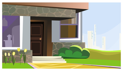 House decorated with flowers and bush vector illustration. Modern stoned building with small porch. Home concept