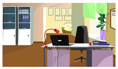Office desk with laptop and folders vector illustration. Administrators workplace in room with cupboards and sofa in waiting space. Workspace concept