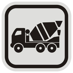 lorry, mixer,black and gray frame, button,  vector icon
