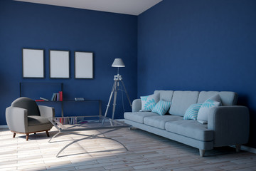 Modern blue living room