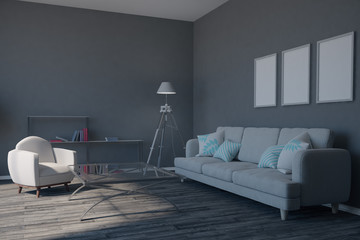 Modern gray living room