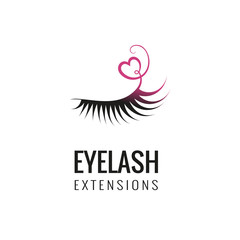 Eyelash extension logo design. Vector illustration.