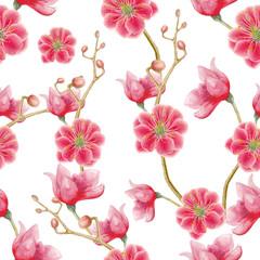 Seamless pattern of watercolor flowers