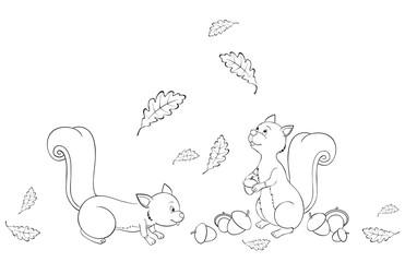 cute squirrels collecting acorns between oak leaves coloring page