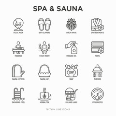 Spa & sauna thin line icons set: massage oil, towels, steam room, shower, soap, pail and ladle, hygrometer, swimming pool, herbal tea, birch, whisk, spa treatments, facial mask. Vector illustration.