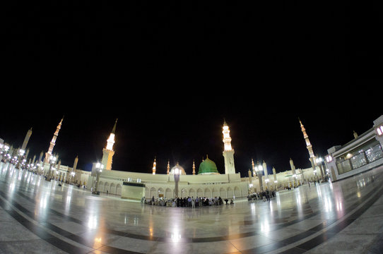 Fisheye view of Masjid Nabawi in the evening in Al Madinah, S. Arabia. Nabawi mosque is the 2nd holiest mosque in Islam.
