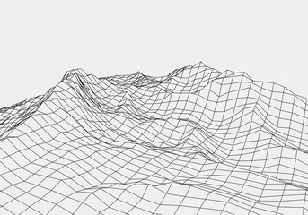 Wireframe landscape wire.3D grid technology illustration landscape. Data Array