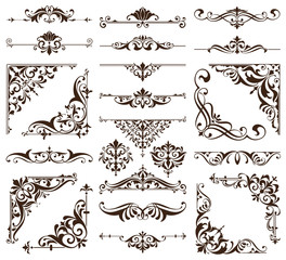Vintage ornaments design elements floral curlicues white background curbs frame corners stickers illustration