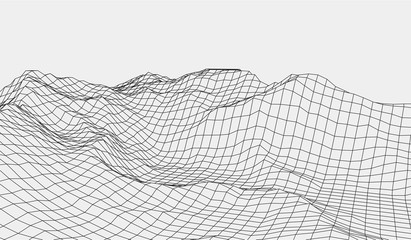 Wireframe landscape wire.3D grid technology illustration landscape. Data Array. Cyberspace landscape grid. Vector illustration. Wall mural