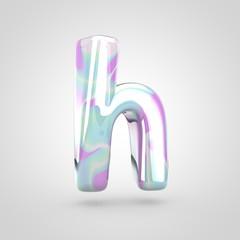 Unicorn skin letter H lowercase isolated on white background.