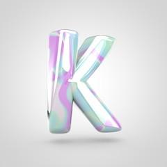 Unicorn skin letter K uppercase isolated on white background.