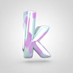 Unicorn skin letter K lowercase isolated on white background.