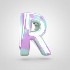 Unicorn skin letter R uppercase isolated on white background.