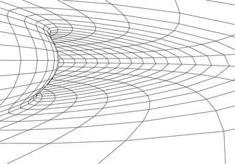 Tunnel or wormhole. 3D tunnel. Grid texture. Abstract tunnel. 3D illustration tunnel