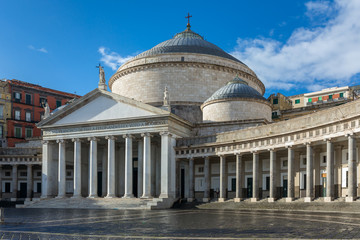Photo sur Aluminium Naples Church San Francesco di Paola, Plebiscito Square ( Piazza del Plebiscito ) in Naples, Italy
