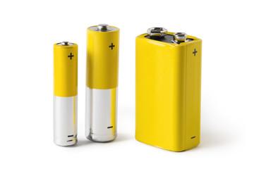 Three batteries (AAA, AA and PP3), isolated on white background Fotoväggar