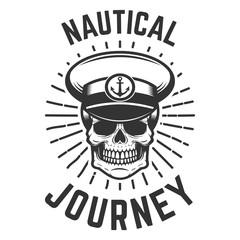 Nautical journey. Skull in boat captain hat. Design element for logo, label, emblem, sign.